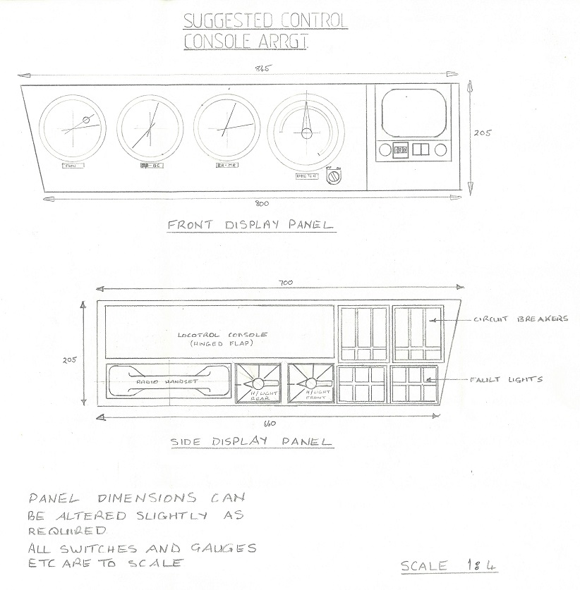 Compare this concept drawing with photos of the eventual product. Note the 4-position headlight switches (Off, Low, Med, High). This idea resulted from a union request. Most of the railroad had a well-built and maintained gravel-surfaced access road running immediately parallel and it was used by public as well as company traffic. Since much of the railroad was along long tangent sections, locomotive drivers were obliged to dim their headlights at night for extended distances so as not to blind on-coming drivers. The 'Medium' position was a practical solution that helped both parties.